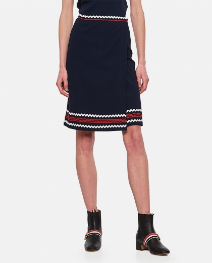 Pleated ribbed wrap skirt with zig-zag finishes Women Thom Browne 000295610043463 1