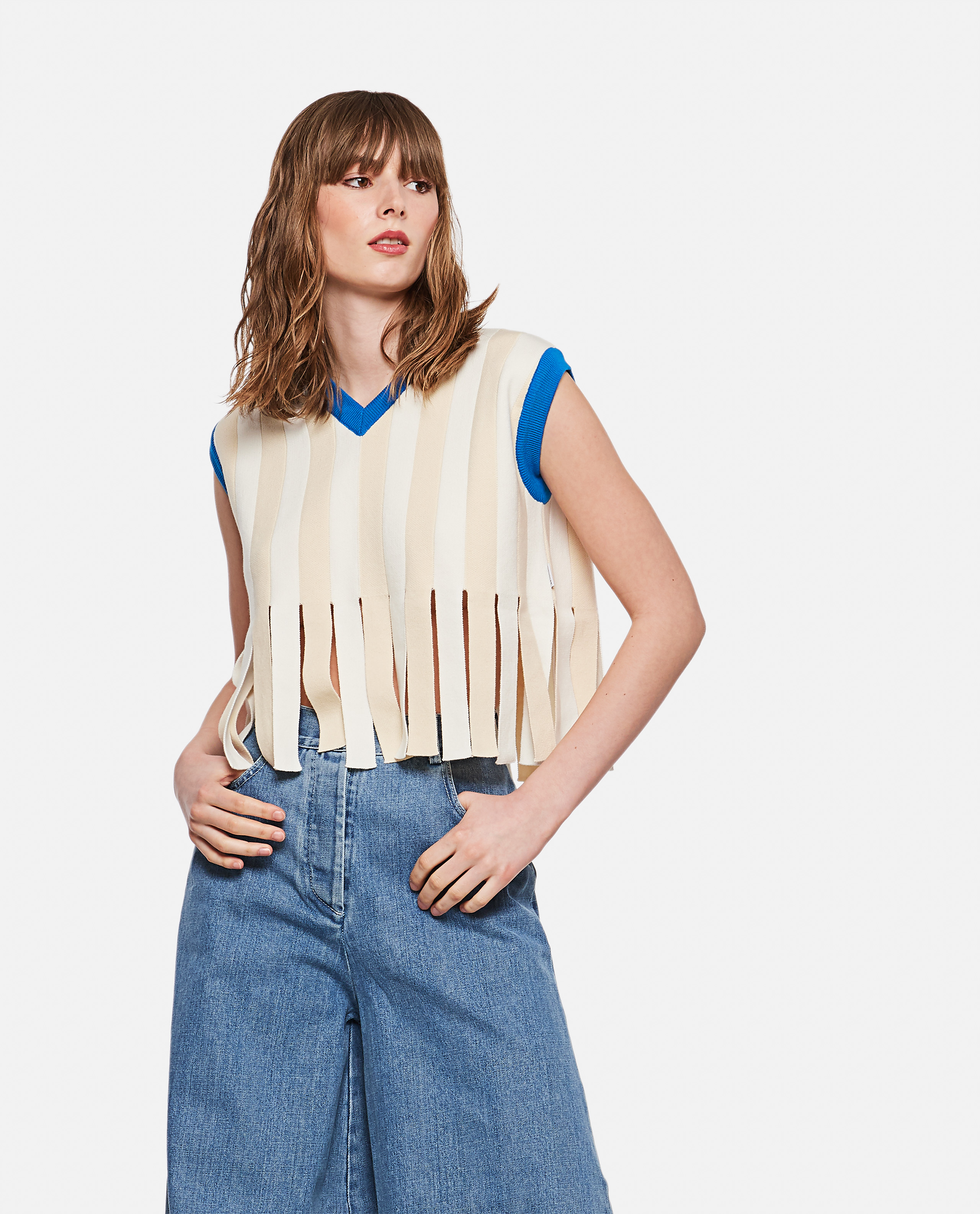 SUNNEI X BIFFI Cotton top with fringes
